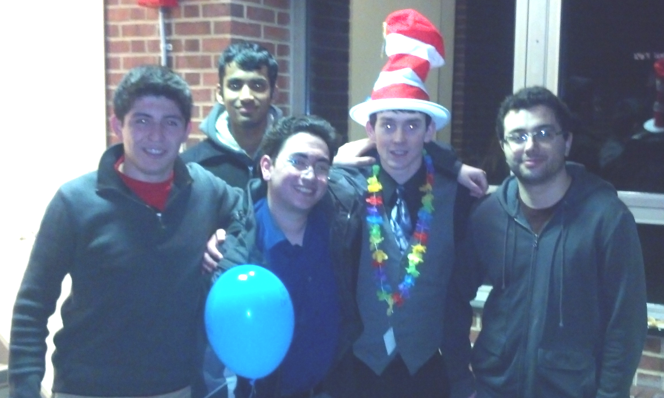 The small contingent of RUDU at F&M after taking 3rd place there.  The tournament theme was Dr. Seuss.  Left to right:  Brian Olivares, George Alukal, Chris Bergman, Sean Leonard, and Chris Baia.